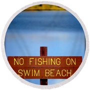 Swim Beach Sign L Round Beach Towel