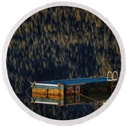 Swim Platform On Lake Quinault Round Beach Towel