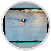 Swimmer In The Truckee River Round Beach Towel
