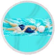 Swimmer Round Beach Towel