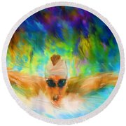 Swimming Fast Round Beach Towel by Lourry Legarde