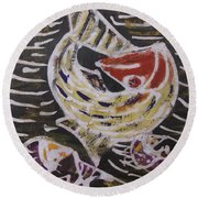 Swimming Fish Inside The Sea River Water Round Beach Towel