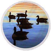 Swimming Geese Round Beach Towel
