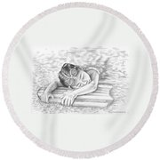 Swimming Girl Round Beach Towel