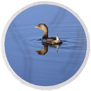 Swimming Grebe Round Beach Towel
