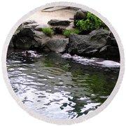 Swimming Hippo Round Beach Towel