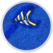 Swimming In A Sea Of Sky Round Beach Towel