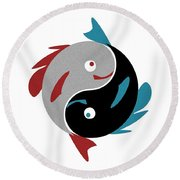 Swimming In Harmony Round Beach Towel by Anastasiya Malakhova