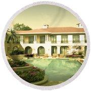 Swimming Pool In Luxury Hotel Round Beach Towel