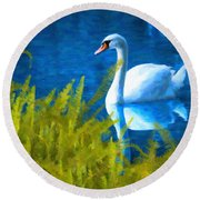 Swimming Swan And Ferns Round Beach Towel