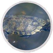 Swimming Turtle Round Beach Towel