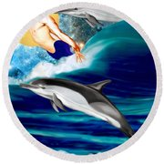 Swimming With Dolphins Round Beach Towel