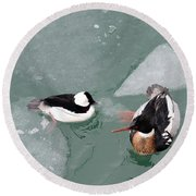 Swimming With Ice Round Beach Towel
