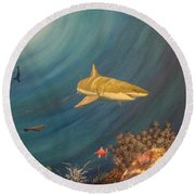 Swimming With Sharks Round Beach Towel