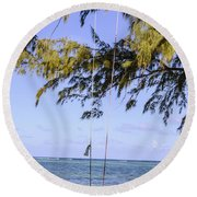 Swing Front Of The Ocean Round Beach Towel