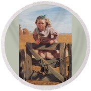 Swinging On A Gate Detail Round Beach Towel