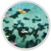 Swirling Leaves And Petals 2 Round Beach Towel