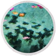 Swirling Leaves And Petals 4 Round Beach Towel
