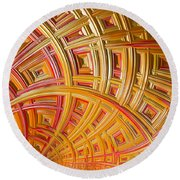 Swirling Rectangles Round Beach Towel