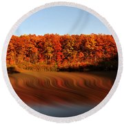 Swirling Reflections With Fall Colors Round Beach Towel by Dan Friend