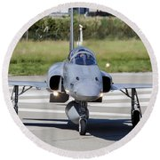Swiss Air Force F-5e Tiger Recovering Round Beach Towel