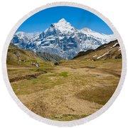 Swiss Alps - Schreckhorn And Valley Round Beach Towel