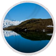 Swiss Alps - Schreckhorn Reflection Round Beach Towel