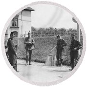 Swiss And German Border Guards Round Beach Towel