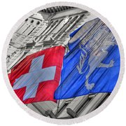 Swiss Flags  Round Beach Towel