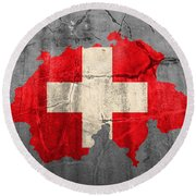 Switzerland Flag Country Outline Painted On Old Cracked Cement Round Beach Towel