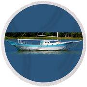 Swordfish Boat Pano Round Beach Towel