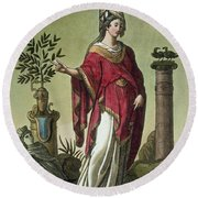 Sybil Of Eritrea With Her Insignia, 1796 Round Beach Towel