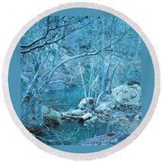 Sycamores And River Round Beach Towel