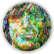 Syd Barrett - Watercolor Portrait Round Beach Towel