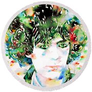Syd Barrett Watercolor Portrait.1 Round Beach Towel
