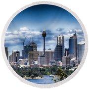 Sydney Australia Skyline Round Beach Towel