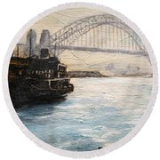 Sydney Ferry Wharves 1950's Round Beach Towel
