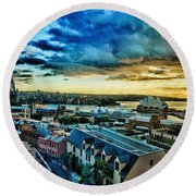 Sydney Harbor Sunrise Round Beach Towel