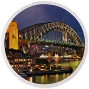 Sydney Harbour Bridge By Night Round Beach Towel by Kaye Menner