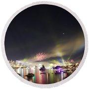 Sydney Navy Fleet Fireworks Round Beach Towel