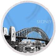 Sydney Skyline 2 Harbor Bridge - Light Blue Round Beach Towel