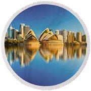 Sydney Skyline With Reflection Round Beach Towel