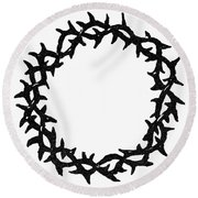 Symbol Crown Of Thorns Round Beach Towel