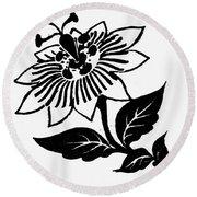 Symbol Passion Flower Round Beach Towel