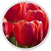 Symbolic Tulips Round Beach Towel