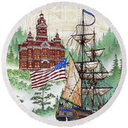 Symbols Of Our Heritage Round Beach Towel by James Williamson