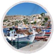 Symi Island Greece Round Beach Towel