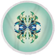 Symmetrical Orchid Art - Blues And Greens Round Beach Towel