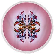 Symmetrical Orchid Art - Reds Round Beach Towel