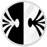 Symmetry In Black And White Digital Painting Round Beach Towel